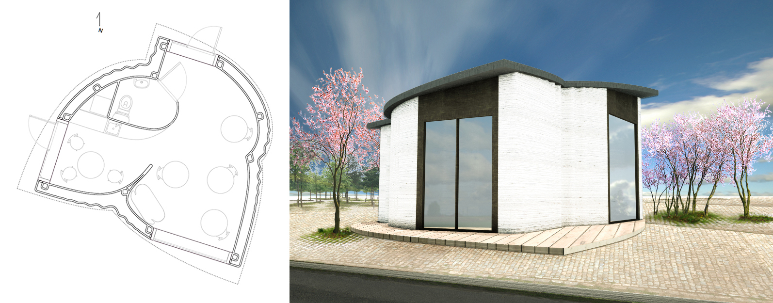 The BOD - Europes first 3D printed building - plan and render