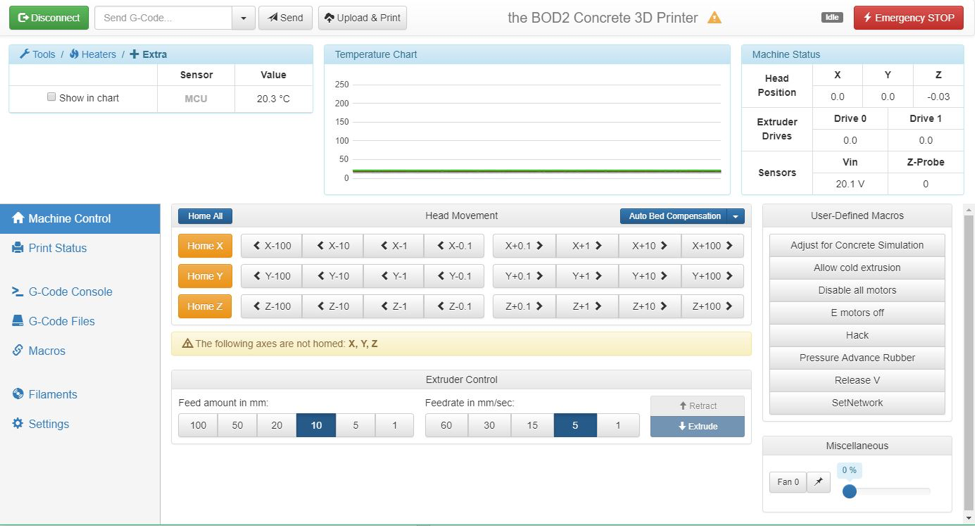 The BOD2 web interface